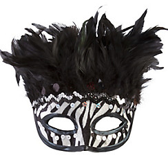 Zebra Stripe Feather Mask