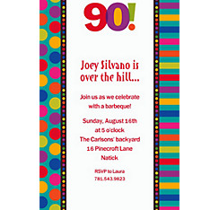 Birthday Dots & Stripes 90 Custom Invitation