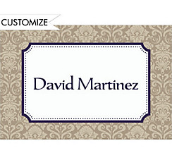 Navy Classic Damask Border Custom Graduation Thank You Notes