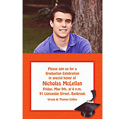 Custom Orange Congrats Grad Photo Invitations