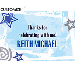 Custom Blue Class Year with Stars Graduation Thank You Notes