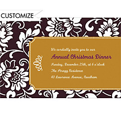 Black & Gold Damask Border Custom Christmas Invitation