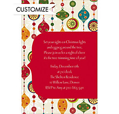 Charming Retro Ornaments Custom Christmas Invitation
