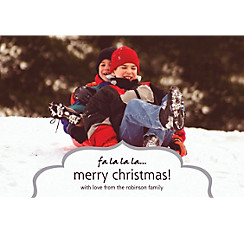 Custom Fancy Frame Silver Christmas Photo Card