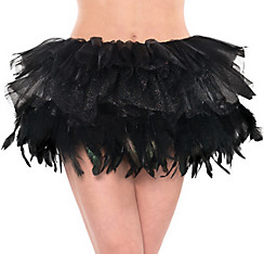 Adult Black Fantasy Feather Tutu Deluxe