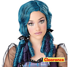 Teal and Purple Doll Wig