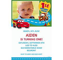 Cars 1st Birthday Custom Photo Invitation