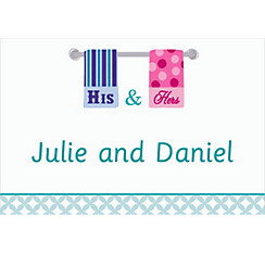 His and Hers Towels Custom Bridal Shower Thank You Note