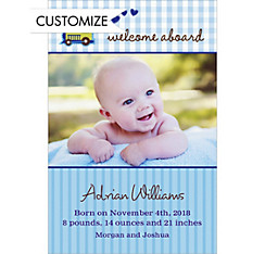 Custom Welcome Aboard Choo-Choo Photo Birth Announcements
