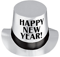 Silver Happy New Year Top Hat
