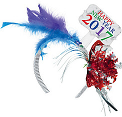 Colorful 2017 Happy New Year's Feather Headband