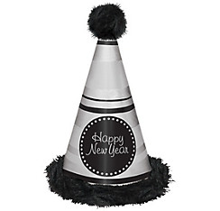 Silver Striped Marabou New Year's Cone Hat
