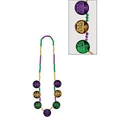 Coin Medallion Mardi Gras Bead Necklace