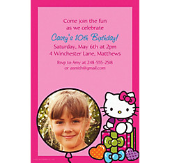 Hello Kitty Rainbow Custom Photo Invitation
