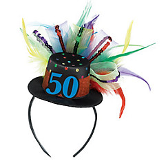 50th Birthday Mini Top Hat Headband