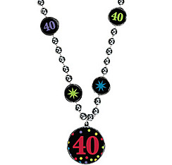 40th Birthday Pendant Bead Necklace