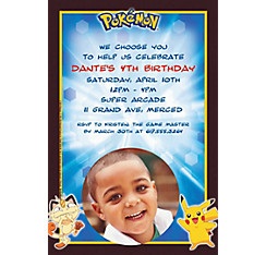 Pikachu and Friends Custom Photo Invitation