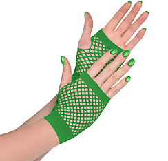 Green Fishnet Glovelettes
