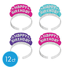 Glitter Purple & Teal Pastel Happy Birthday Tiara Headbands 12ct
