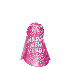 Pink Fireworks Happy New Year Party Hat