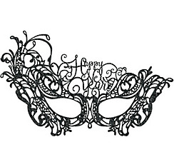 Black Lace Happy New Year Masquerade Mask