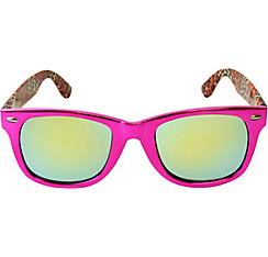 Metallic Pink & Cheetah Mirrored Sunglasses