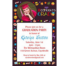 Custom Emoji Graduation Photo Invitation