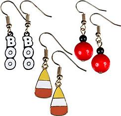 Boo & Candy Corn Halloween Earrings Set 6pc