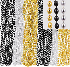 Black, Gold & Silver Bead Necklaces 24ct