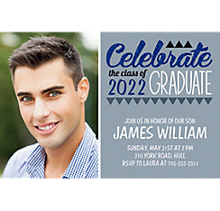 Custom Gray Pennant Banner Graduation Photo Invitation