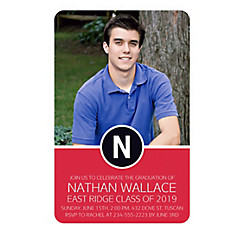 Custom Red Block Initial Graduation Photo Invitation