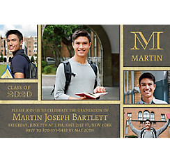Custom Gold & Gray Textured Graduation Collage Photo Invitation