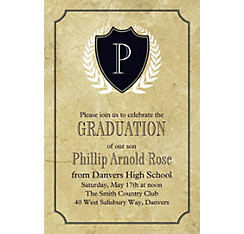 Custom Gold Stone Initial Graduation Invitation