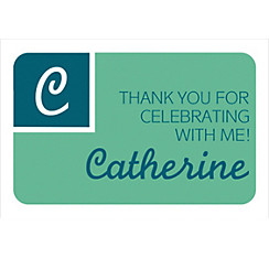 Custom Mint Color Block Initial Graduation Thank You Note