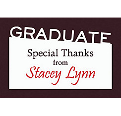 Custom Graduate White Slant Thank You Note