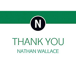 Custom Green Block Initial Graduation Thank You Note