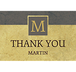 Custom Gold & Gray Textured Graduation Thank You Note