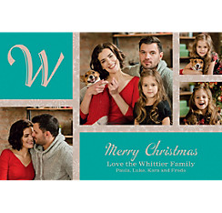 Custom Classic Green Snowflakes Collage Photo Card
