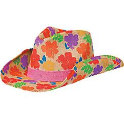 Hibiscus Burlap Cowboy Hat