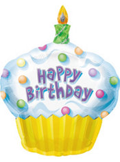 Foil Cupcake Happy Birthday Balloon 36in