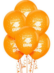 Orange Latex Graduation Balloons 12in 15ct