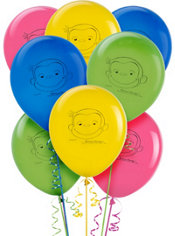 Latex Curious George Balloons 12in 8ct