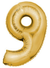 Number 9 Metallic Gold Foil Balloon 34in
