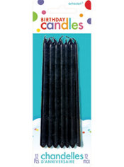 Tall Black Birthday Candles 12ct