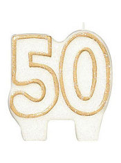Number 50 Gold Glitter Birthday Candle 3in
