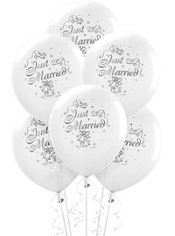 Just Married Wedding Latex Balloons 12in 15ct