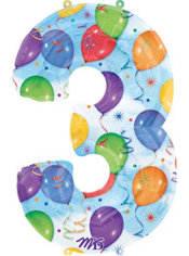 Number 3 Celebration Foil Balloon 34in