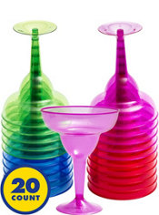 Jewel Tone Plastic Margarita Glasses 20ct