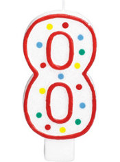Number 8 Polka Dot Birthday Candle with Glitter 5in