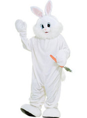 Adult White Mascot Bunny Rabbit Costume Deluxe